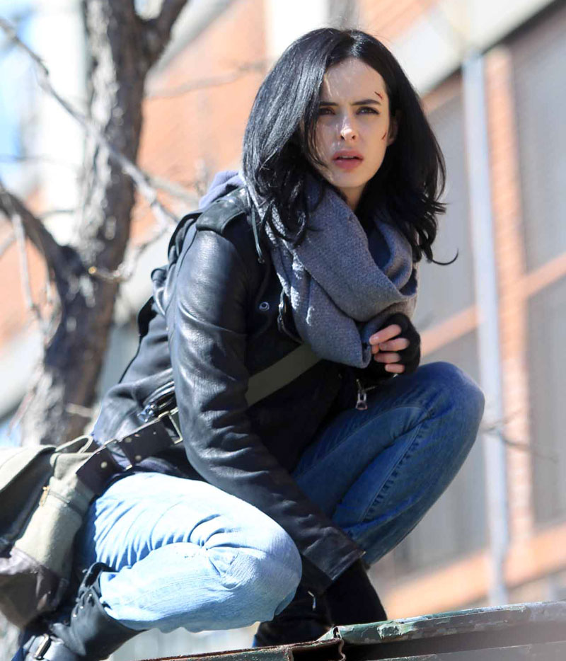 Krysten Ritter in Jessica Jones set